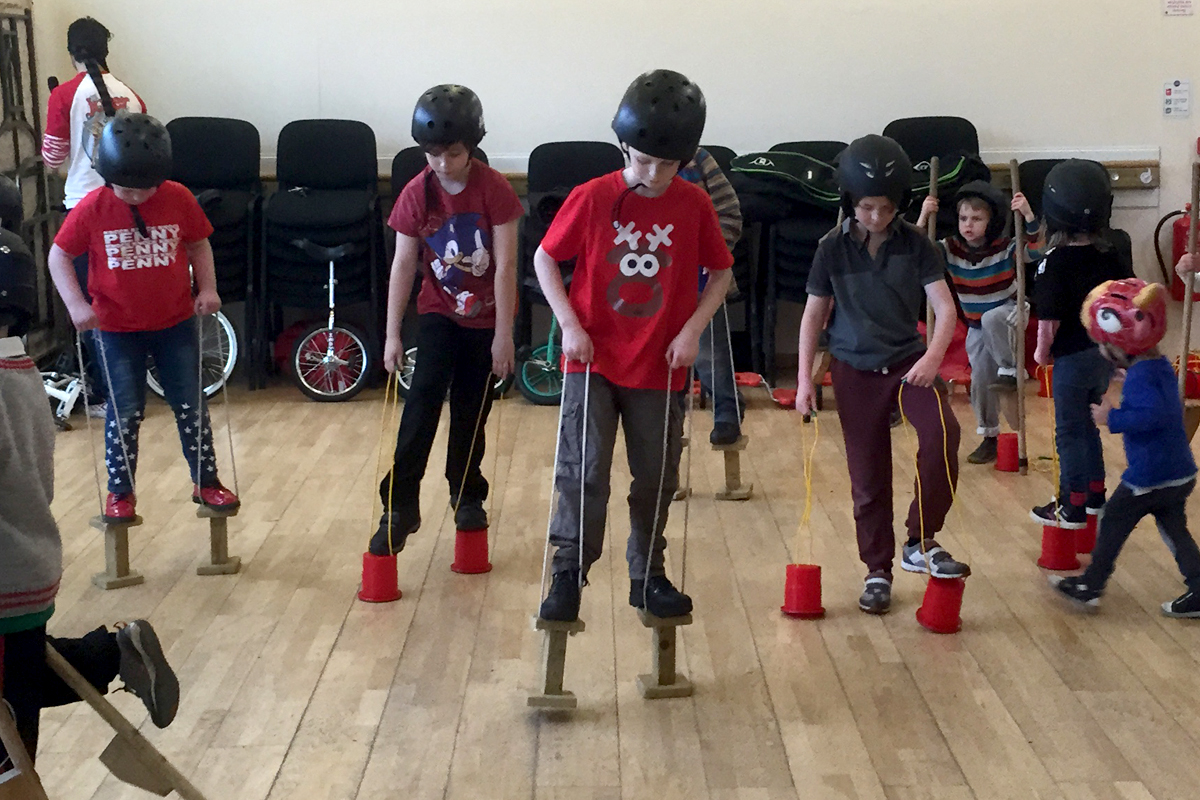 Balance Circus Workshop, stilt walking, unicycling and balance props available from The Joker Entertainment. A great participation activity in the Midlands, Boston, Sleaford, Lincolnshire, Lincoln, Newark, Nottinghamshire, Rutland, Northampton, South Yorkshire, have a go