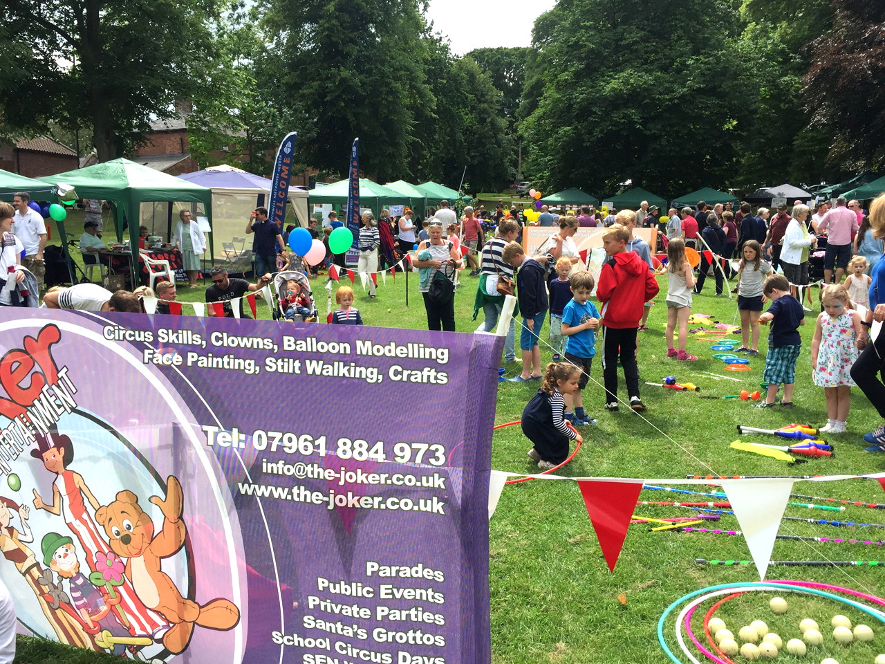 The Joker entertainment providing circus workshops and participation activities and walkabout entertainment at family fun days, play days and carnivals for summer entertainemnt