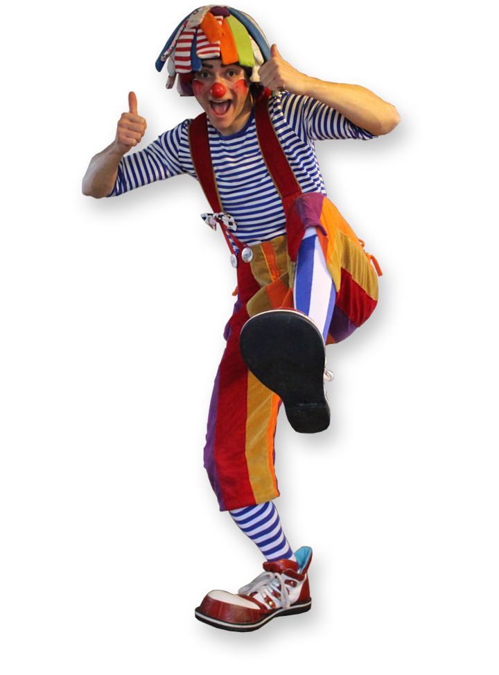 Bonkers the clown multi skilled clown entertainer The Joker Entertainment providing circus entertainment, circus skills, stilt walking, balloon modelling, participation activity's and face painting in the Midlands, Nottinghamshire, Yorkshire, Leicestershire, Lincolnshire