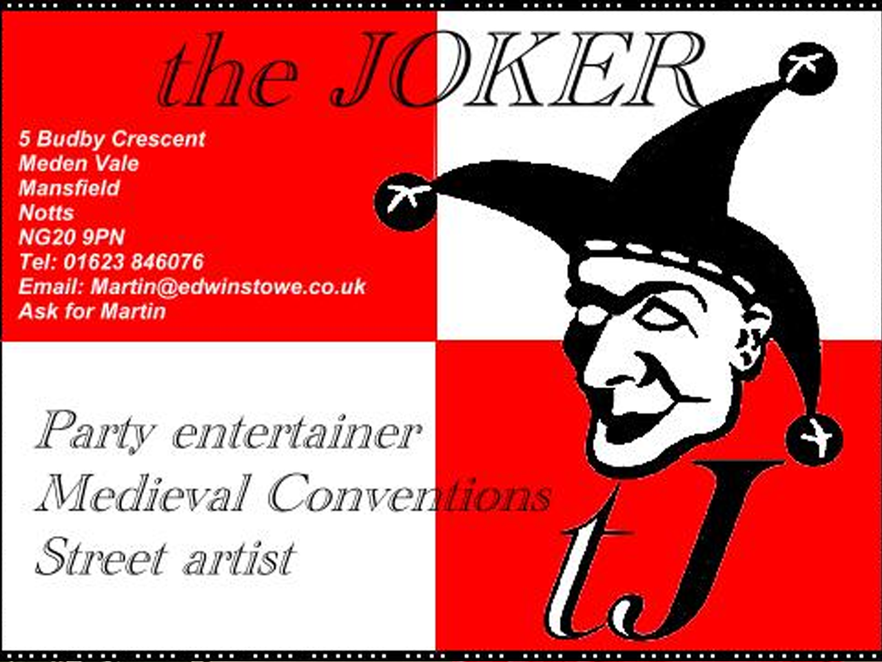 The Joker Entertainment providing circus entertainment, circus skills, stilt walking, balloon modelling, participation activity's and face painting in the Midlands, Nottinghamshire, Yorkshire, Leicestershire, Lincolnshire