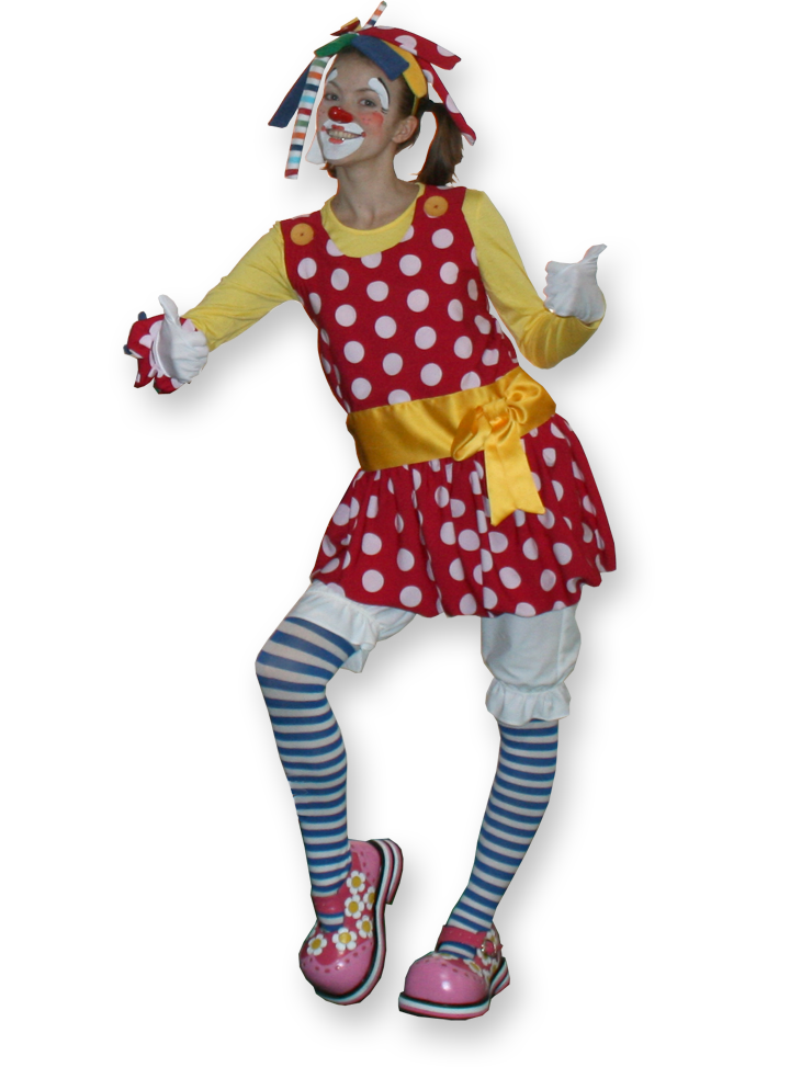 Poppy the clown, multi skilled clown entertainer The Joker Entertainment providing circus entertainment, circus skills, stilt walking, balloon modelling, participation activity's and face painting in the Midlands, Nottinghamshire, Yorkshire, Leicestershire, Lincolnshire