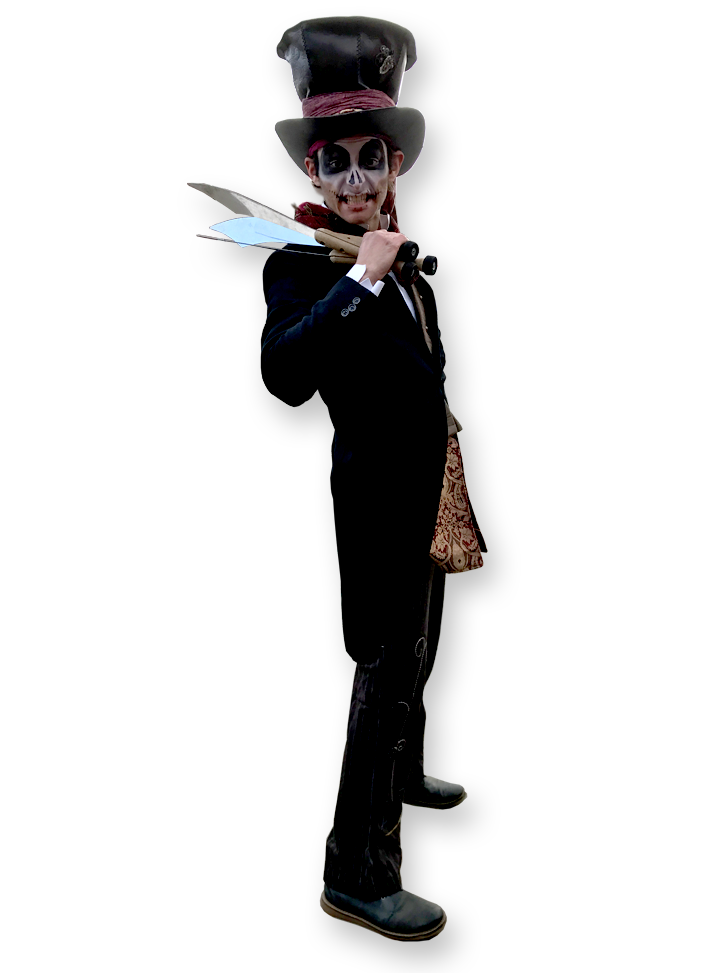 Halloween character from The Joker Entertainment providing circus entertainment, circus skills, stilt walking, balloon modelling, participation activity's and face painting in the Midlands, Nottinghamshire, Yorkshire, Leicestershire, Lincolnshire, Chesterfield, Wingerworth, Matlock, Derbyshire