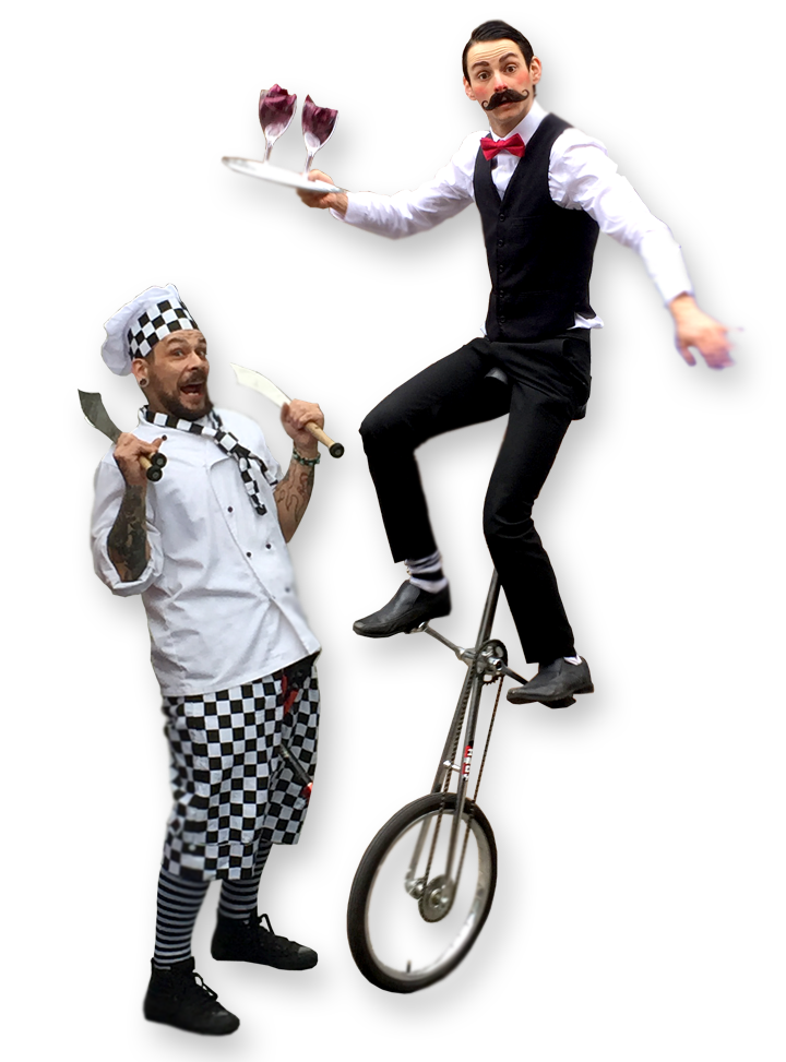 Unicycling characters from The Joker Entertainment providing circus entertainment, circus skills, stilt walking, balloon modelling, participation activity's and face painting in the Midlands, Nottinghamshire, Yorkshire, Leicestershire, Lincolnshire, Chesterfield, Wingerworth, Matlock, Derbyshire